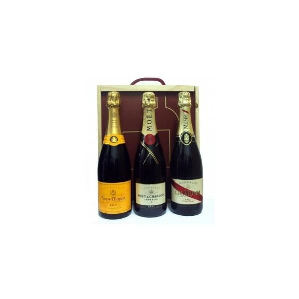 Caja Madera 3 Botellas Champagne Ref. 615