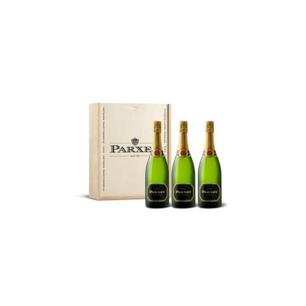 CAVA PARXET BRUT NATURE en caja de madera 3 botellas