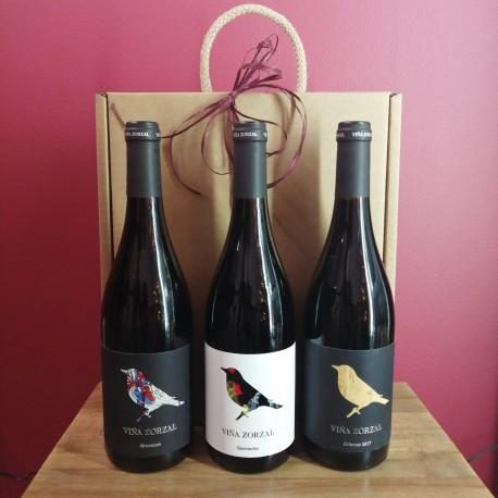 Estuche 3 Botellas Vino de Navarra Viña Zorzal Ref. 107