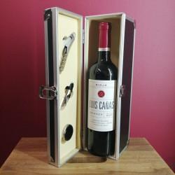 Caja de Metal con Vino Crianza Rioja + Accesorios vino